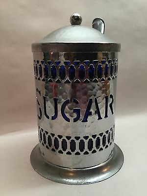 Vtg Cobalt Blue Silver Plate Sugar Canister W/ Chrome Plated Spoon And Lid A8