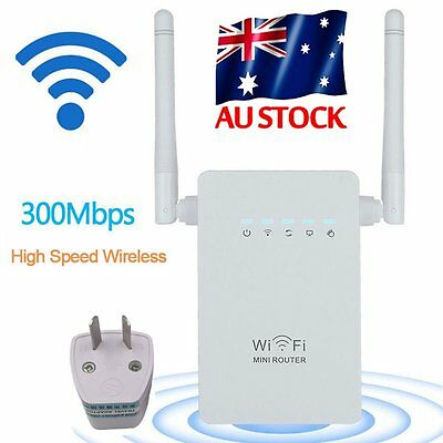300Mbps Wireless-N Repeater Network Router WiFi Signal Range Extender Booster U,