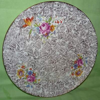 Royal Winton,Grimwades. Round Cake Plate. Floral w Gold . England.