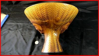 rare coupe à fruit faience ST CLEMENT design double têtes  1950 loft