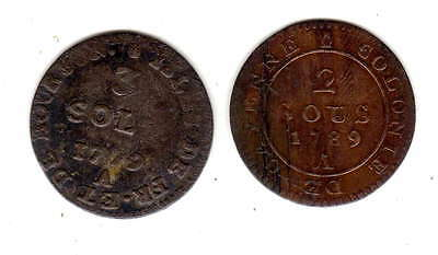 2 x early french colony coins isle de bourbon 3 sol 1779,and 2 sous cayenne 1789