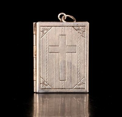 Tibet Silver Cross Ornament Locket Christian Faith When Photo Box Restoring Anci