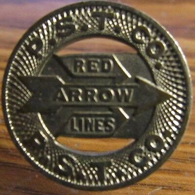 1951 P.S.T. Co. Red Arrow Lines Upper Darby, PA Transit Bus Token - Pennsylvania