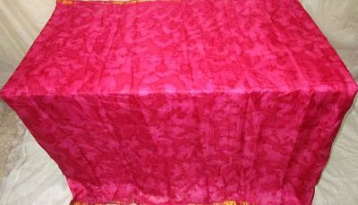 Pure silk Antique Vintage Sari Saree Fabric 2 YARDS Rani Gold Zari #ABGC1