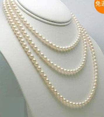 Genuine natural 6-7mm white freshwater pearl /&10mm black necklace Strand 18/'/'AAA