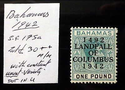 BAHAMAS 1942 G.VI £1 Landfall Mounted Mint As Described with Variety AD186