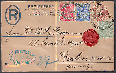 1906 KEVI uprated Registered Envelope to Berlin, Germany; Fine; Threadneedle St
