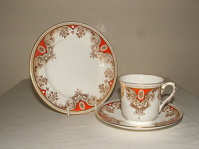 Shelley Art Deco Vincent Gold & Red Flower Tea Trio Truly Stunning