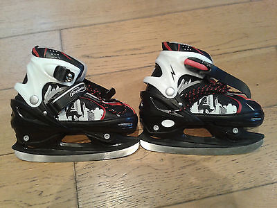 Physisionics Boy's black, white & red Ice Skating boots size 34-37 great cond