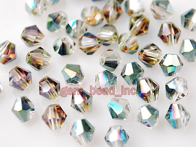 200pcs Loose Hot Colorized Glass Crystal Faceted Bicone Beads 4mm Findings
