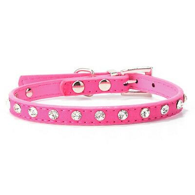 Pet Adjustable Suede PU Leather Collar Cute Dog Crystal Neck Strap Rose S Size