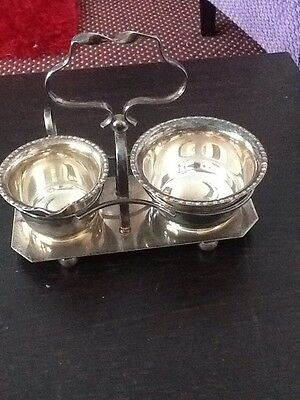 EPNS silverplated milk and sugar bowl on tray