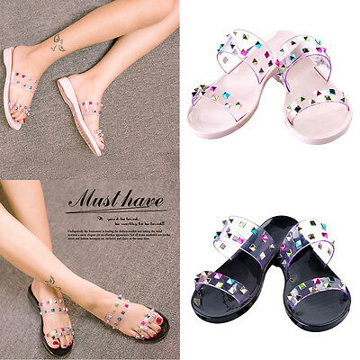 New Womens Ladies Strap Studded Sandals Summer Slippers Slip On Flats Shoes Size