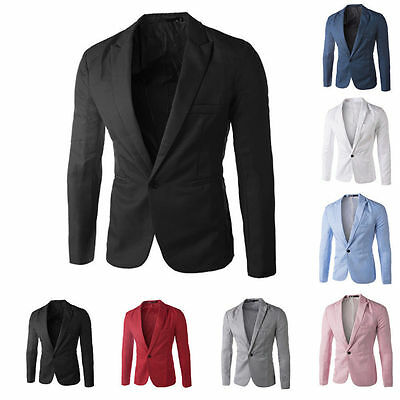 Mens One Button Suit Blazer Jacket Casual Slim Fit Blazer Coat Work Wedding Tops