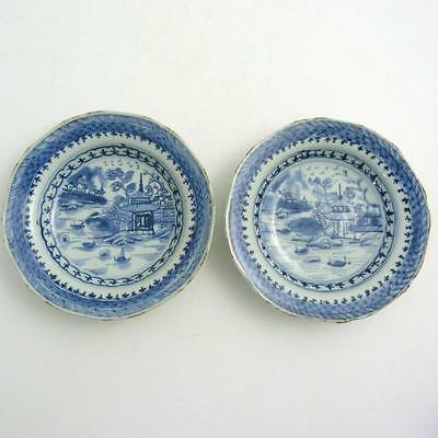 Pair Of Chinese Blue And White Porcelain Shallow Bowls, 18Th Century