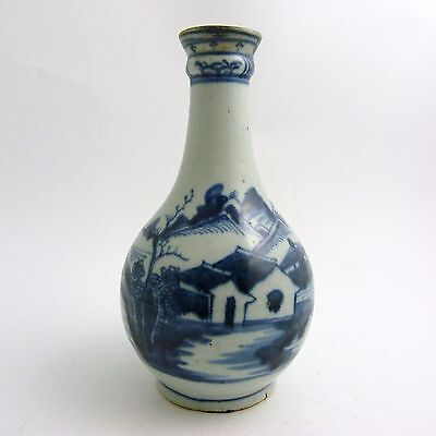 18th CENTURY CHINESE BLUE AND WHITE PORCELAIN VILLAGE SCENE GUGLET