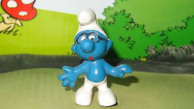 Smurfs Brainy Black Glasses Smurf Rare Vintage Unique Toy Display Figurine