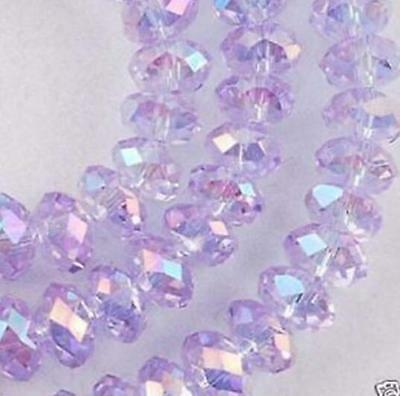 2017 6 mm 98 pcs Faceted Rondelle Bicone Crystal Jewelry Beads ABlight-purple