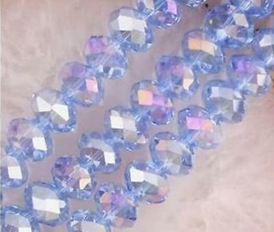 2017  6 mm 98 pcs Faceted Rondelle Bicone Crystal Jewelry Beads AB Light blue