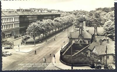 GRT WESTERN RD & BOTANIC GDNS, GLASGOW. 1960s Vintage RP Postcard. Free Postage