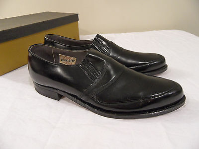 Vintage 1930's Black Leather Guide Step Slip On Dress Shoes Mens 8B Womens 10