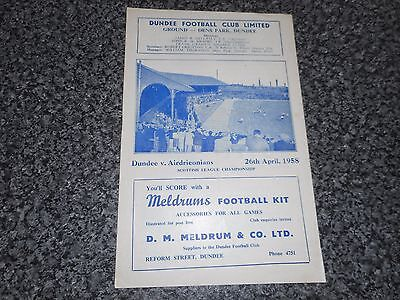 DUNDEE  v  AIRDRIEONIANS ' AIRDRIE '  1957/8  SCOTLAND ~ APRIL 26th  *FREE POST*