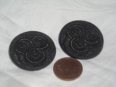 N84 Vintage Black Glass victorian carved ribbon buttons