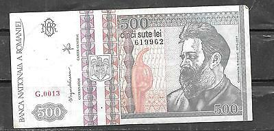 ROMANIA #101a 1992 vg CIRC 500 LEI OLD BANKNOTE BILL NOTE CURRENCY PAPER MONEY