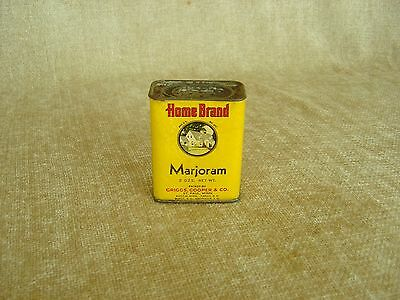 HOME BRAND MARJORAM EARLY 1900's GRIGGS COOPER YELLOW SPICE TIN 2 oz  FREE SHIP