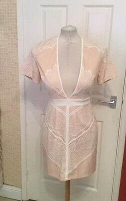 Ladies Nude and White Lace Look Dressy Bodycon Style Dress Size 12 Missguided