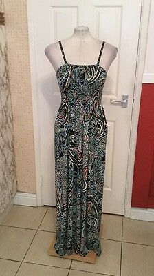 Ladies Black and Blue Paisley Design Dressy Summer Maxi Dress 12-14 Peacocks