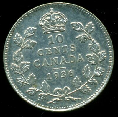 1936 Canada King George V, Silver Ten Cent, Sharp!