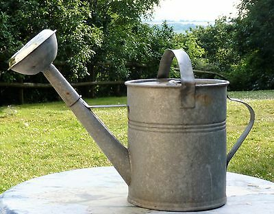 Vintage Galvanised Watering Can Polished Brass Rose Chic Country Cottage Garden
