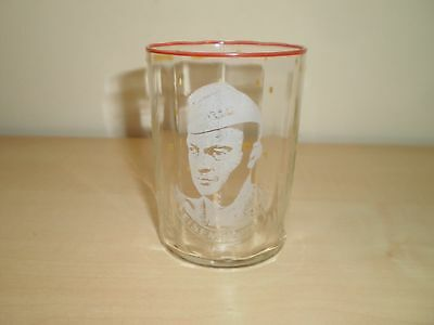 1940s Wartime President Eisenhower Portrait Etched Small Glass