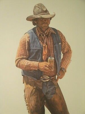 "GORDON SNIDOW COORS COWBOY SIGNED PRINT ""AINT NO CITY BEER"" 23 3/4"" x 14"" $39.95"