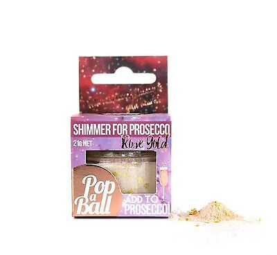 Popaball Rose Gold Shimmer Powder For Prosecco Raspberry Flavour & Gold Hearts