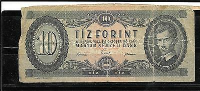 HUNGARY #168c very GOOD 1962 10 FORINT VG CIRC OLD BANKNOTE NOTE PAPER MONEY