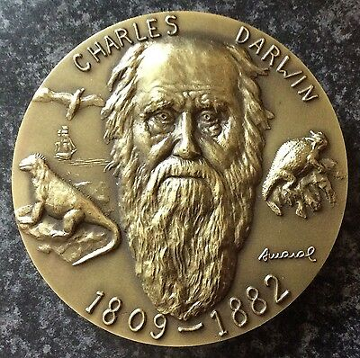 1- Stunning  Bronze Commemorative Medal,charles Darwin,evolution Theory.80 Mm.
