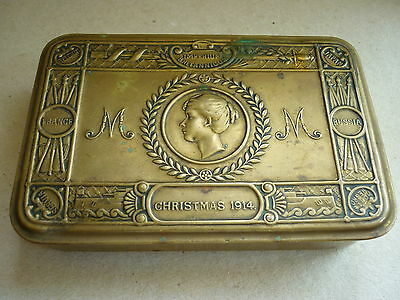Original Vintage World War One Princess Mary Troops Christmas Gift Tin 1914