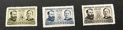 Slovenia 1941 UMM 80th Anniv of Presentation of Slovak Memorandum sg 69/71