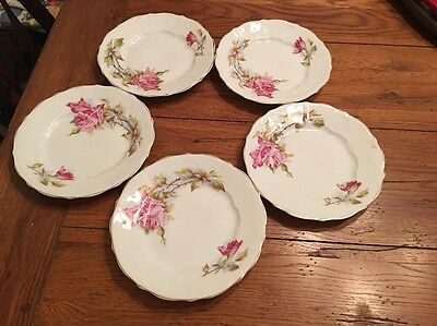 """5 Vintage C T ALTWASSER Hand Painted Plates White Pink Roses Germany 8 """" Marked"""