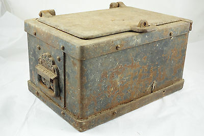 Antique Cast Iron Strong Box Wild West 1800's Stagecoach Railroad Train Safe