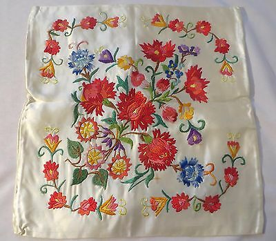 Vintage Silk Embroidery PIllow Sham Cover Satin Fabric  Antique