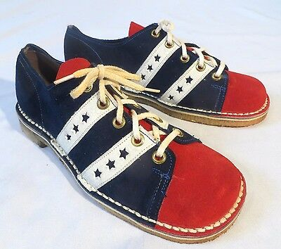 Vintage Poll Parrot Red White Blue Suede Shoes 70s Dead Stock 4 D