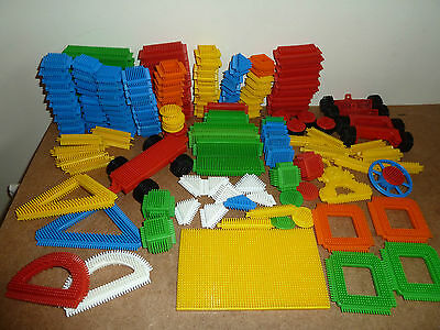 Playskool Stickle Bricks Large Lot Approx 175 Pieces Base Wheels Shapes Etc.