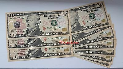 Uncirculated Us Dollar*series Of $10 Ten Dollar Bill Unc