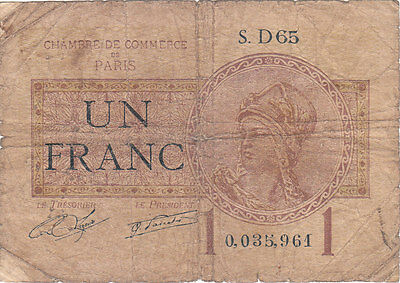 France Banknote - 1 Un Francs from 1922