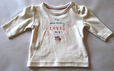 New & Tagged M&S Baby Girl's Cotton Top Long Sleeves Fit Age 0-3 Months
