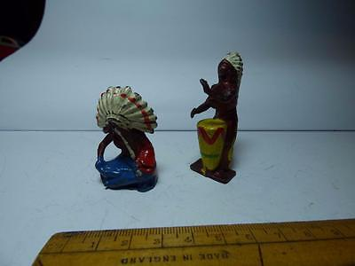 Vintage Crescent Toys Seated Indian Chief And Standing On War Drums