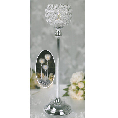 Crystal Clear Votive Tealight Candle Holder 43cm Stick Wedding Table Centerpiece